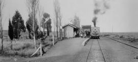 Brand, 1895. Steam locomotive in station. (EH Short)