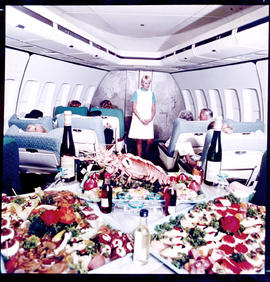 SAA Boeing 747 interior, food buffet.