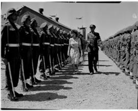 East London, 3 March 1947. Princess Elizabeth inspects the Guard of Honour (Railways and Harbours...