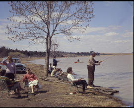 Vaal Dam, 1961. Fishing at Jim Fouche resort.