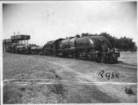Southern Rhodesia, 1947. Royal Train with a pair of RR Class 15's with No 273 leading at water tank.