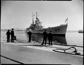 Cape Town, 17 February 1947. 'HMS Vanguard' entering Table Bay Harbour.