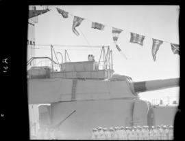 Cape Town, 17 February 1947. Turret of 'HMS Vanguard' in Table Bay Harbour.