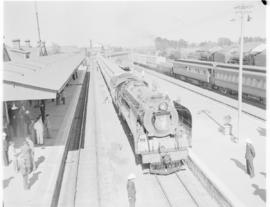 Kroonstad, 10 March 1947. SAR Class 15F 3040 enters Kroonstad station with the Pilot Train. Also ...
