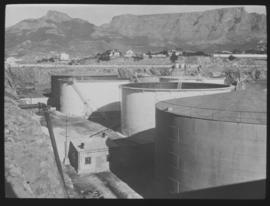 Cape Town. Table Bay harbour - oil storage tanks.