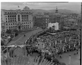 Pretoria, 29 March 1947. Aerial view of Church Square with cenotaph and white arch erected for th...