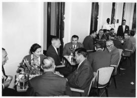 Lourenco Marques, Mozambique, 1959. Conference of General Managers. Group in tea room.