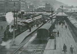 Cape Town, circa 1906. Departure of CGR locomotive (later SAR Class 6) with main line passenger t...