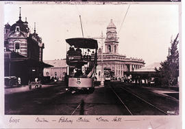 Durban. Railway station with Town Hall in the distance.