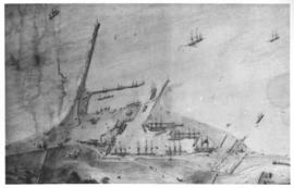Cape Town. Early sketch of aerial view of Table Bay Harbour.