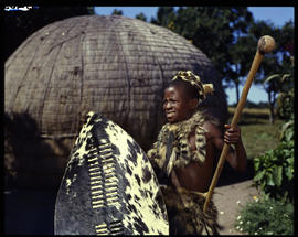 Zululand, 1961. Young Zulu boy at traditional hut.