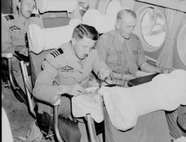 Circa 1945. Avro York interior, man having meal.
