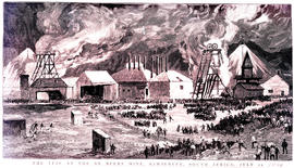 """Kimberley, 1889. Fire at De Beers mine on 11 July 1889. [Etching]"""