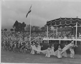 Pretoria, 31 March 1947. Children parade past the Royal dais.
