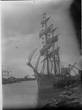 East London. Large sailship moored in Buffalo Harbour.