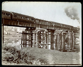 Umhloti, 1879. Passenger train on newly constructed bridge over the Mhloti River.