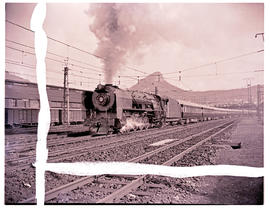 """Cape Town, 1949. SAR Class 15F No 3104 with Blue Train leaving for Johannesburg for Johanne..."
