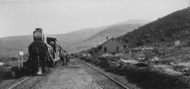 Dassiedeur, 1895. Cape 7th Class, later SAR Class 7 locomotive in station. (EH Short)