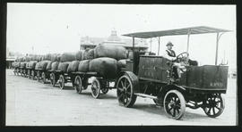 Combustion tractor No 9501 with row of trailers.