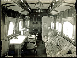 Interior showing lounge with desk in SAR saloon coach No 2 for Duchess of Connaught Royal Tour. ...