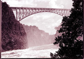 Victoria Falls, Rhodesia. Bridge and canyon from Palm Grove.