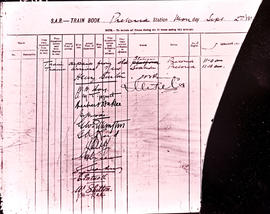 Pretoria, 2 September 1912. Signatures of senior officials in train book authorising trip from ol...