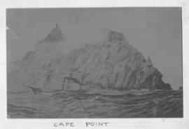 Cape Town. Sailing vessel sailing past Cape Point. Sketch.