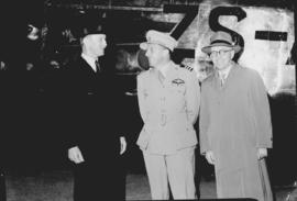 November 1945. Departure of first Avro York ZS-ATP on Springbok Service, with three men.
