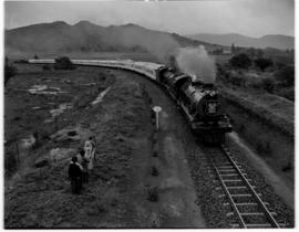 Eastern Cape, March 1947. SAR Class 15AR No 1825 and No 1805 lead the Royal Train on the section ...