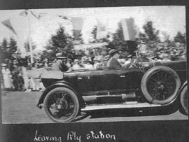 Ladysmith, June 1925. Prince of Wales leaving railway station during Royal visit. (Album on Natal...