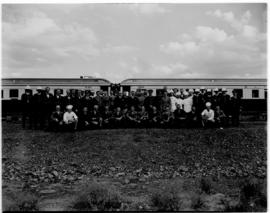 Breede River, 19 April 1947. Group photo of SAR team in front of the Pilot Train.