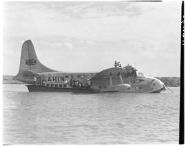Vaal Dam, May 1948. Arrival of BOAC Solent flying boat G-AHIN 'Southampton'. Passengers being tra...