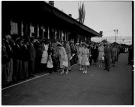 Escourt, 17 March 1947. Royal family walkabout at the station. Jan Smuts  and other dignitaries i...