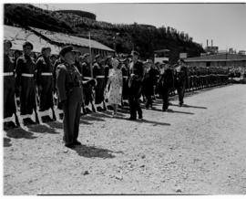East London, 3 March 1947. Princess Elizabeth inspecting the guard of honour at the naming of the...