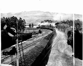 Vryheid, 1946. Doubleheaded coal train leaving station.