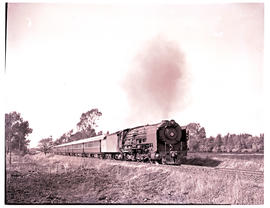 """Johannesburg district, 1956. SAR Class 25NC with Blue Train."""