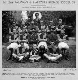 Durban, 1943. Third Battalion Railways and Harbours Brigade Soccer XI, winners Durban Senior War ...
