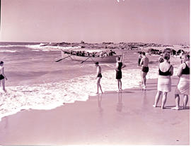 Natal South Coast, 1946. Launching rowing boat from the beach.