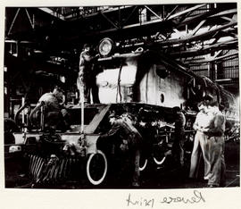 Pretoria, 1961. Interior of SAR locomotive workshop at Koedoespoort.