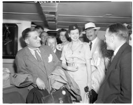 Vaal Dam, November 1949. BOAC Solent flying boat G-AKNP 'City of Cardiff'. Passengers with hostes...