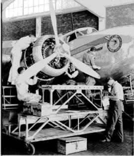 Johannesburg, circa 1949. Rand Airport. SAA Lockheed Lodestar 'Ryk Tulbagh' being worked on in wo...