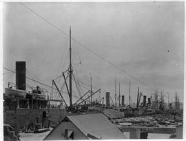 Durban, circa 1901. Durban Harbour congested with ships and sailing vessels. (Durban Harbour albu...