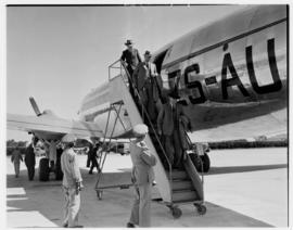 Cape Town, May 1946. Trip to Cape Town with SAA Douglas DC-4 ZS-AUA 'Tafelberg', passengers disem...