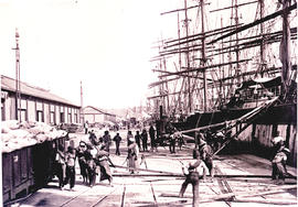 Durban. Timbers being loaded by hand from large sailship at St Pauls wharf.