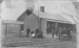 Biesiespoort, circa 1893. Station staff, from left to right: Stationmaster AI Mok, Mrs Mok, Carpe...