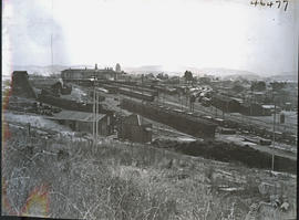 Pretoria, 1939. Railway yard and station building in the distance.