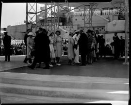 Cape Town, 17 February 1947. Royal family welcomed by Minister of Transport FC Sturrock and other...