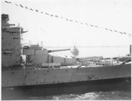Cape Town, 17 February 1947. 'HMS Vanguard' in Table Bay Harbour with sailor parade on deck.