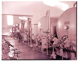 """Bloemfontein, 1948. Power station filtration plant, water being tested."""