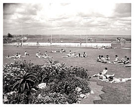 """Johannesburg, 1962. Bathers at swimming pool at Esselen Park College."""
